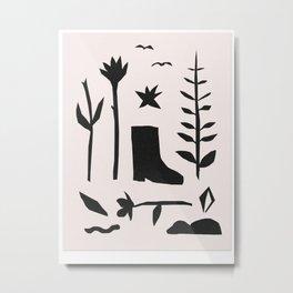 Boot Plants Nature Walk Metal Print