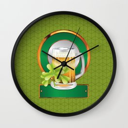 Beer and clover Wall Clock