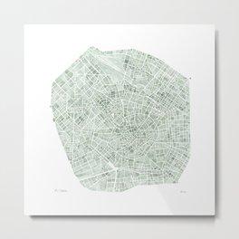 Milan Italy watercolor map Metal Print