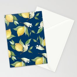 Navy Lemon Watercolor Painting - Lemon Pattern Stationery Cards
