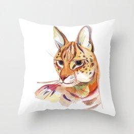 Serval wild cat watercolor Throw Pillow