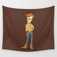 pixar Wall Tapestries featuring Woody Allen  by I Love Doodle