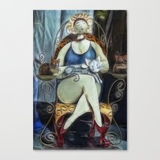 the Lady and the cats Canvas Print