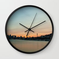 seattle Wall Clocks featuring Seattle by Tracy Wong