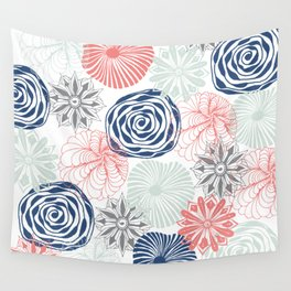 Floral Pattern in Coral Red, Navy Blue and Aqua Wall Tapestry