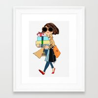 shopping Framed Art Prints featuring shopping by penpun
