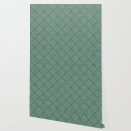 Stitched Diamond Geo Grid in Green Wallpaper