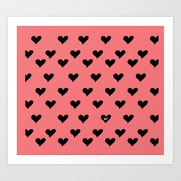 Retro Hearts Pattern Art Print