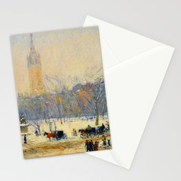 Frederick Childe Hassam - Snowstorm, Madison Square - Digital Remastered Edition Stationery Cards