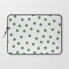 Green Shamrocks White Background Laptop Sleeve