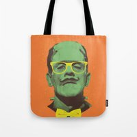 frank Tote Bags featuring Mr Frank by Victor Vercesi