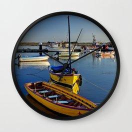 Yellow fishing boats near Tavira, the Algarve, Portugal Wall Clock