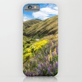 Lupines fields on the side of the road in New Zealand iPhone Case