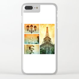 Drama of Paris Collage Clear iPhone Case