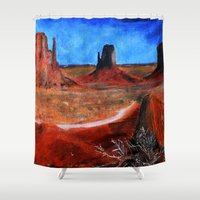 utah Shower Curtains featuring Utah Landscape Acrylic Painting by James Peart