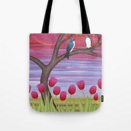 tree swallows & tulips at sunrise Tote Bag