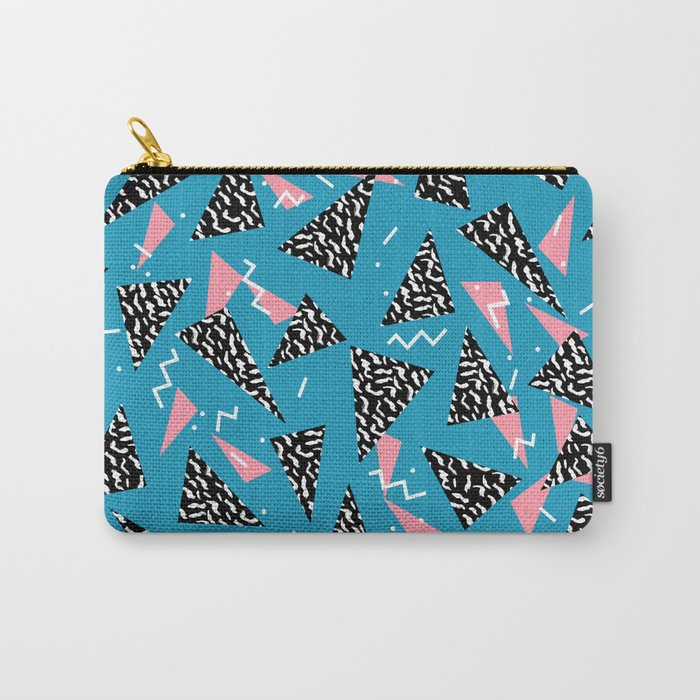 80s Abstract memphis pattern trendy modern pattern print pink black and blue Carry-All Pouch