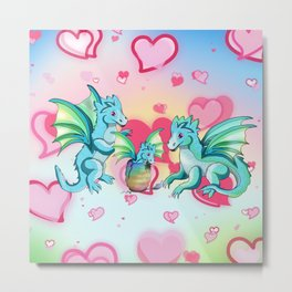 Lots of hearts and a cartoon family of dragons Metal Print