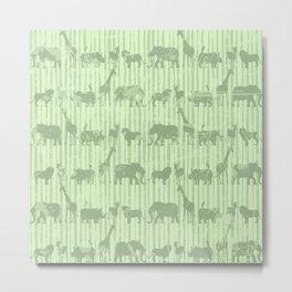 Distressed Jungle Theme Animal Safari Green Elephants Lions Giraffes Rhinos on Stripes Metal Print