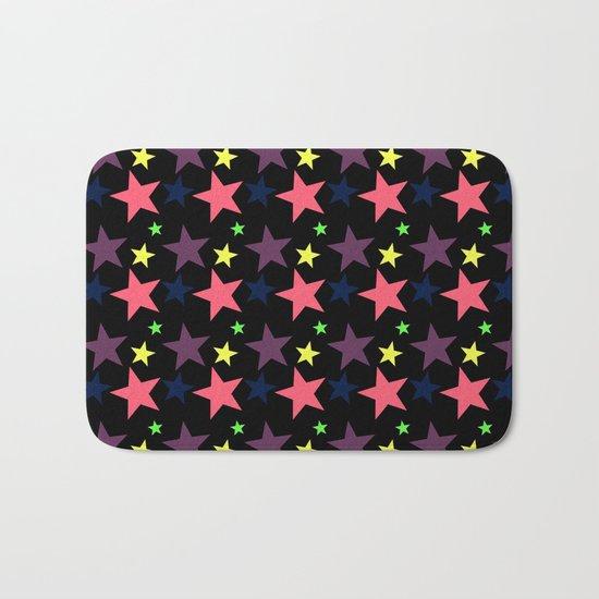 Happy Stars on Black Bath Mat