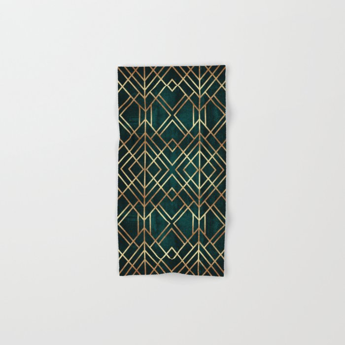 Dark Teal Geo Hand Bath Towel