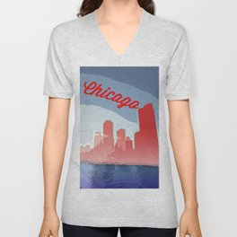 Chicago Skyline Travel Poster Unisex V-Neck