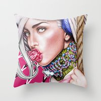 artrave Throw Pillows featuring artRAVE by Denda Reloaded