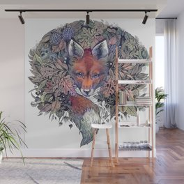 Hiding fox rainbow Wall Mural