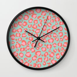 Coral  Leopard Print on Blue background | Living Coral design Wall Clock