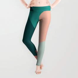 Colorful geometric design in green and coral Leggings