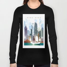 The city skyline of Hong Kong Long Sleeve T-shirt