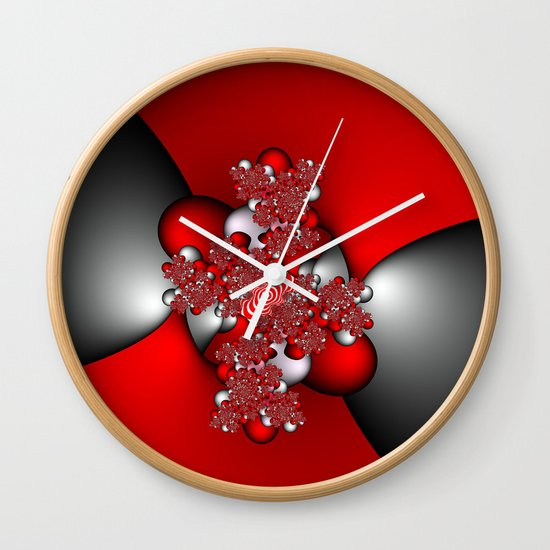 Red and Silver and Black Wall Clock