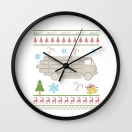 Logging Truck Christmas Ugly Shirt Logger Shirt Wall Clock