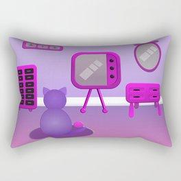 Cute Purple Cat Cartoon Watching A Movie at Home Rectangular Pillow