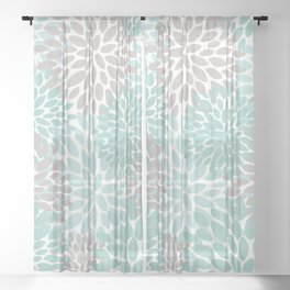 Floral Pattern, Teal, Aqua, Turquoise,Gray Sheer Curtain