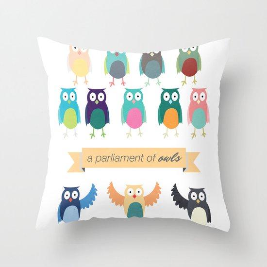 A Parliament of Owls Throw Pillow
