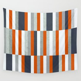 Orange, Navy Blue, Gray / Grey Stripes, Abstract Nautical Maritime Design by Wall Tapestry