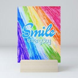 Smile Everyday, Crayon Colors, Kids Crayon, color splash, blue version Mini Art Print