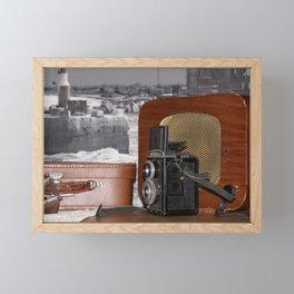 Vintage analog Camera-recorder and a retro radio Framed Mini Art Print
