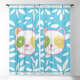 Rainbow Panda Sheer Curtain
