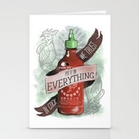 sriracha Stationery Cards featuring An Ode To Sriracha by Drunk Girl Designs