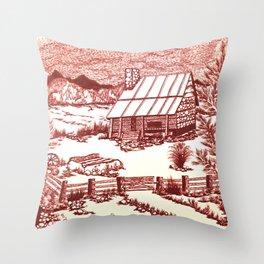 Mountain Cabin Rustic Throw Pillow