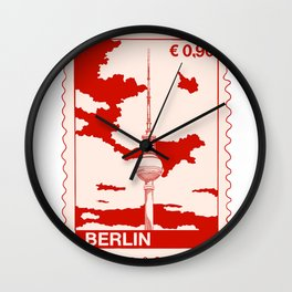 TV Tower in Berlin Stamp Wall Clock