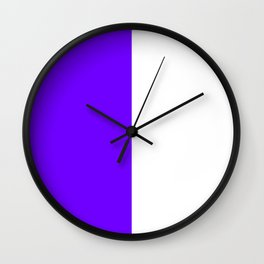 White and Indigo Violet Vertical Halves Wall Clock