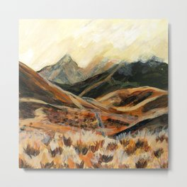 Golden Mountain Landscape Metal Print