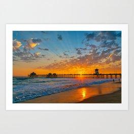 Painted Sky Over Huntington Beach Pier. Art Print