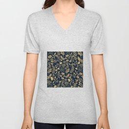 Elegant Gold Glitter Foliage Navy-Blue Design Unisex V-Neck