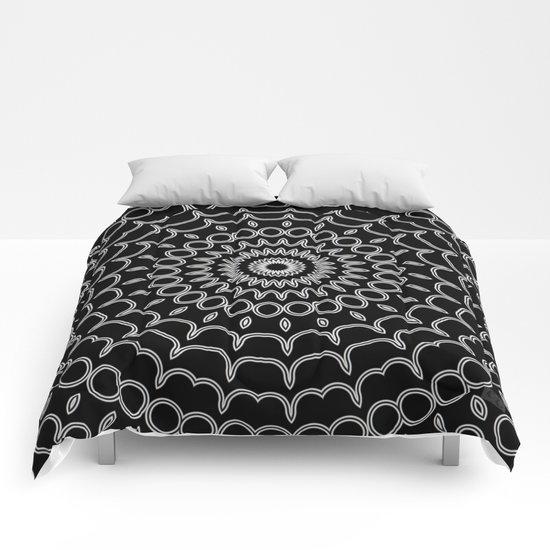 Mandala Fractal in Black and White Comforters