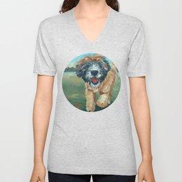 Wheaton Terrier Dog Portrait Unisex V-Neck