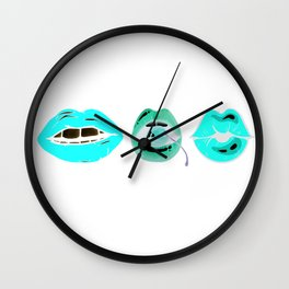 blue lips Wall Clock